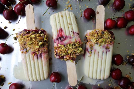 Roasted Cherry and Coconut Pistachio Orgeat Ice Pops