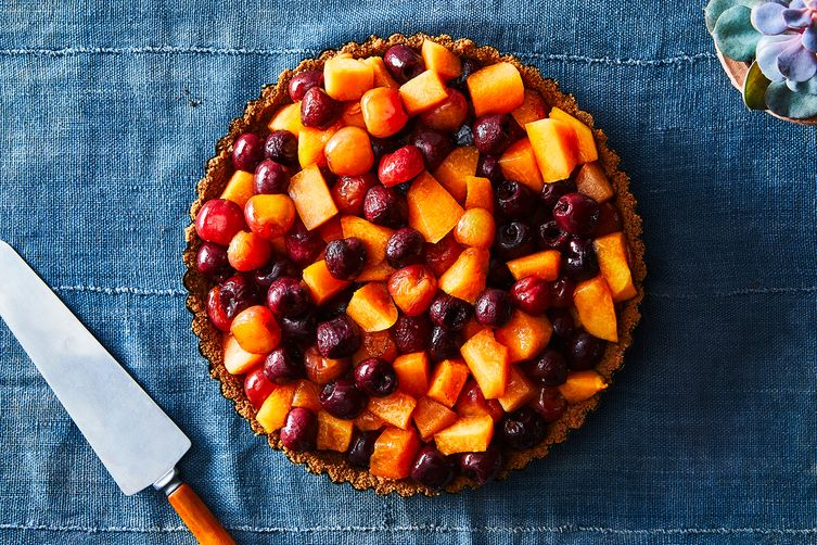 Roasted Cantaloupe Cherry Tart