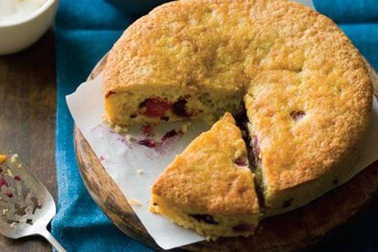 Cornmeal Cake with Fresh Corn and Raspberries
