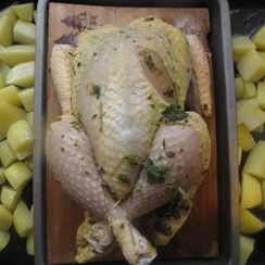 Cedar-planked lemon thyme chicken
