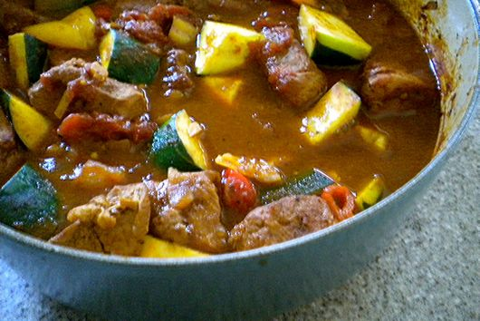 Spicy Pork, Pepper and Zucchini Stew