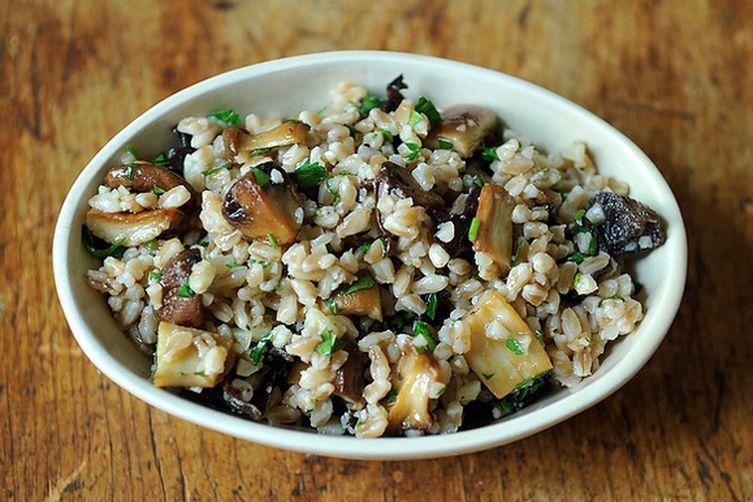 Farro Salad with Roasted Mushrooms and Parmesan Recipe on ...