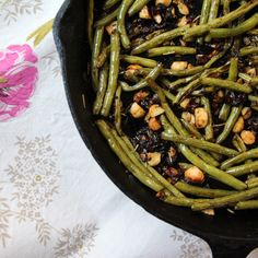 Roasted Green Beans with Diced Dates, Garlic and Rosemary Marcona Almonds