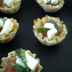 Tomato-Basil Jam Filled Mini Phyllo Shells