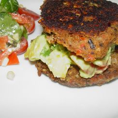 Black Bean Burger Buns stuffed with Avocado Mango Salsa