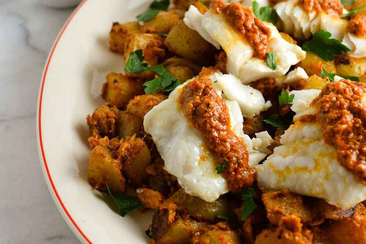 Romesco Sauce over Cod and Potatoes