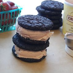 Balsamic Strawberry Ice Cream and Dark Chocolate Cookie Sandwiches