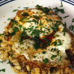Wild Mushroom Risotto with Fried Eggs