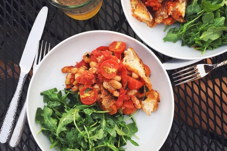 Warm Tomato, White Bean & Sourdough Salad