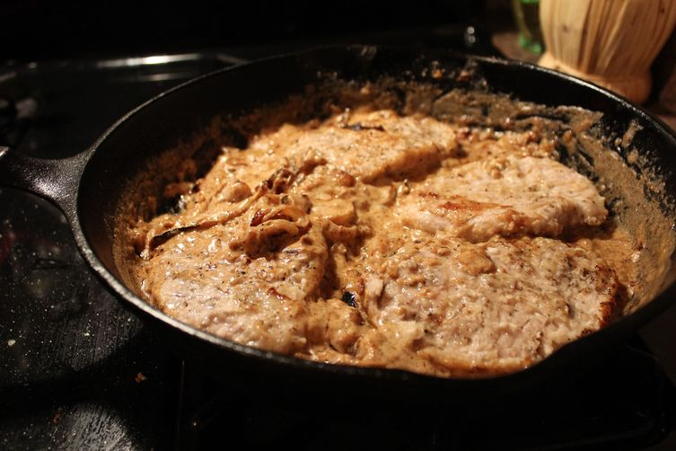 Pork Chops with Whiskey Onion Gravy