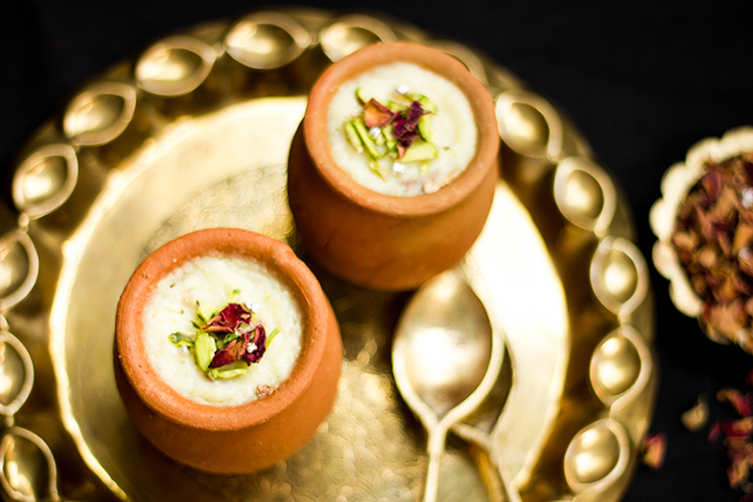 Gulab Phirni or Rose flavored Indian Rice Pudding