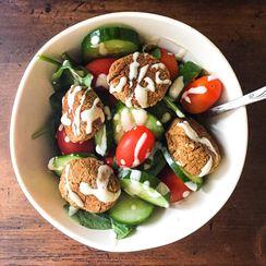 Gluten-Free Falafel Salad w/ Lemon Tahini Dressing