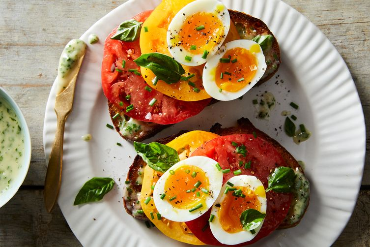 The Ultimate Tomato Sandwich, With Jammy Eggs & Herby Mayo