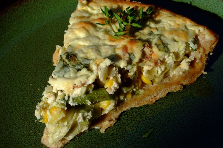 Corn Asparagus Leek Ricotta Tart with Herbed Olive Oil Crust