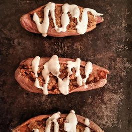 Twice-Baked Stuffed Yams with Harissa and Red Lentils