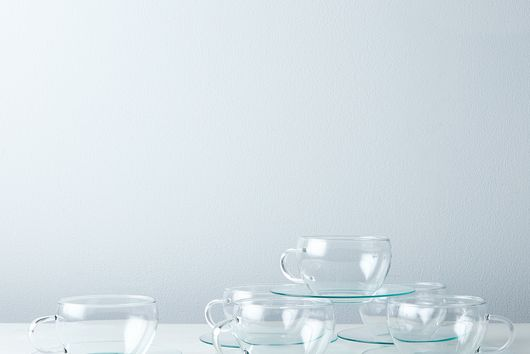 Borosilicate Glass Tea Cup And Saucer (Set of 6)