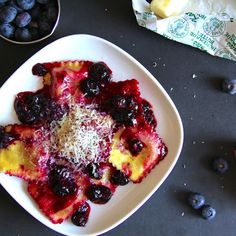 Ricotta Ravioli with Blueberry Pan Sauce