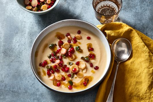 Root Vegetable Soup with Poblano Oil & Pomegranate Seeds