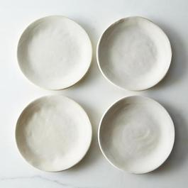 White Crackle Slab Side Plates (Set of 4)