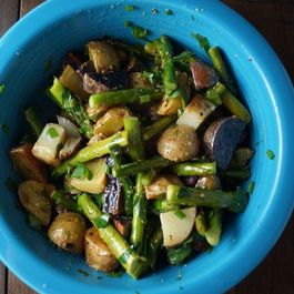 Roasted Potatoes and Asparagus with Mustard Vinaigrette