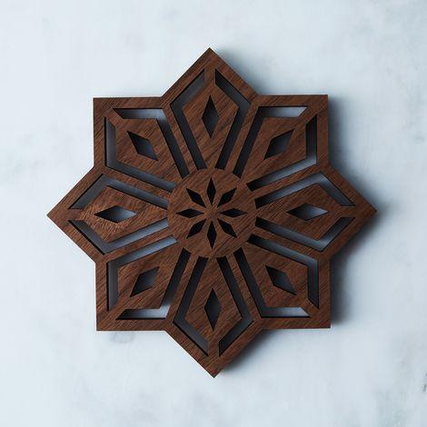 Laser-Cut Walnut Mosaic Trivet