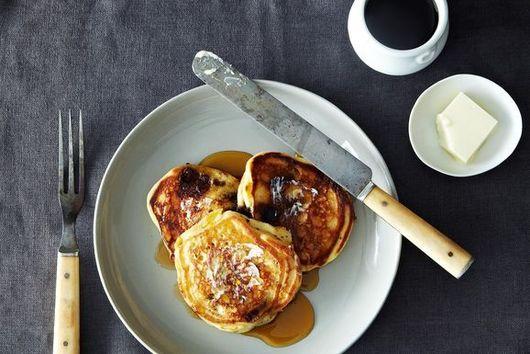 Lavender-Chocolate Chunk Pancakes with Crème Fraîche