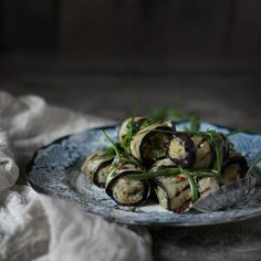 Grilled Eggplant Rolls Stuffed with Milletballs