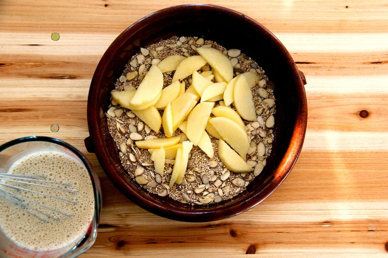 You can assemble the oats as a whole dish to serve family style or you can portion the oats and milk into four individual servings, which you can store in the fridge for up to three days and bake as needed. When storing the oat-milk mixture in the fridge, add the fruit just before baking.