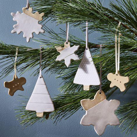 Handmade Ceramic Slab Ornaments