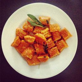 Saffron infused sweet potato gnocchi in a brown butter sage sauce