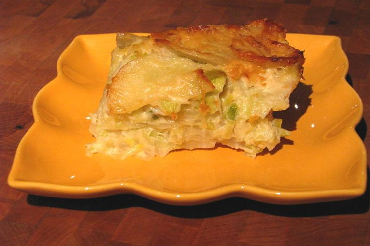 Creamed Leek Potato Gratin