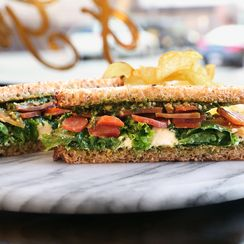 Ricotta Sandwich with Kale, Carrots & Parsley-Pecan Pesto