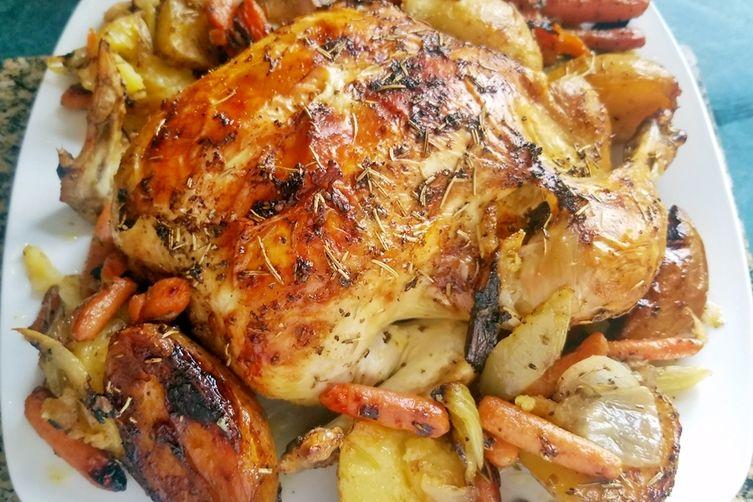 Roasted Whole Chicken with Lemon Veggies