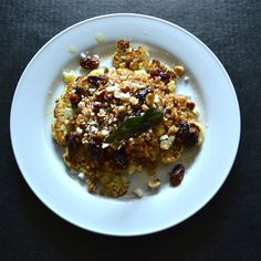 Warm cauliflower, grape and farro salad with apple cider vinaigrette