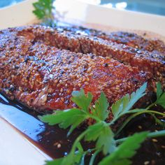 Sesame Encrusted Salmon with Pinot Noir Reduction