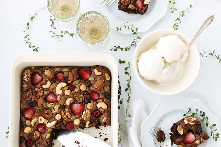 Fruit and nut fudgy brownie
