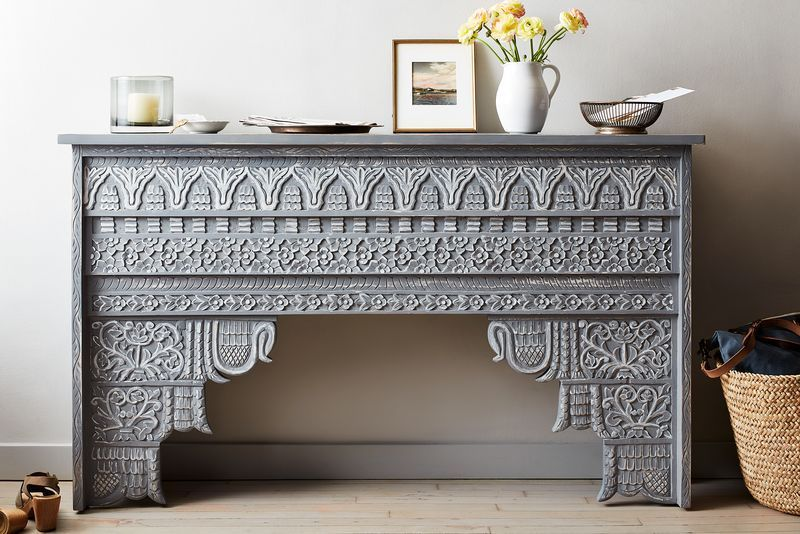 Don't have a dedicated bar? Don't stress. A console table (like this one!) will work just fine.