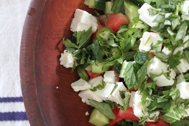 Watermelon, Cucumber, + Feta Salad