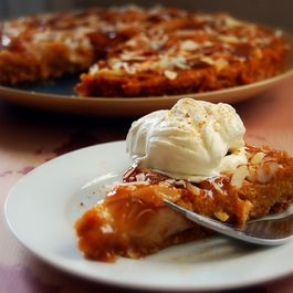 Kabocha-Satsuma Asian Pear Tart with Almond-Maple Caramel