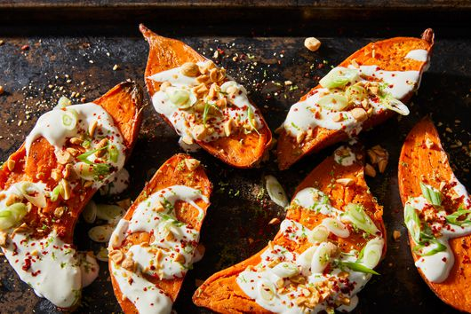 Baked Sweet Potatoes With Maple Crème Fraîche From Nik Sharma