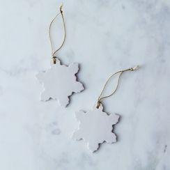 Handmade Ceramic Snowflake Ornaments (Set of 2)