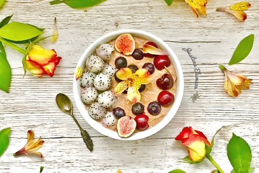 PALEO Overnight Oats with Cherries, Dragon Fruit & Figs