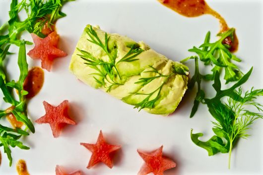 Crab and Avocado Roulade with Watermelon