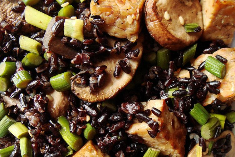 Stir Fried Forbidden Black Rice with Tempeh, Garlic Scapes, Crimini