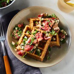 Crispy Chickpea Waffles With Herby Israeli Salad & Harissa Tahini Sauce