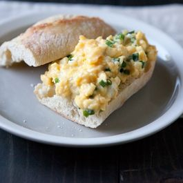 Baguette with Chevre Scrambled Eggs and Chives