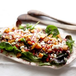 Roasted sweet potato, wild rice, pomegranate and feta salad