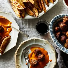 Piri Piri Chicken Meatballs with Crispy Potatoes