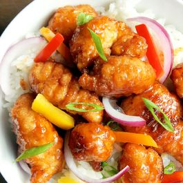 General Tso's Chicken with Peppers and Onions over Rice