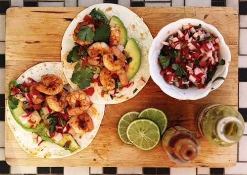Shrimp Tacos with Grape Tomato, Radish & Spring Onion Salsa
